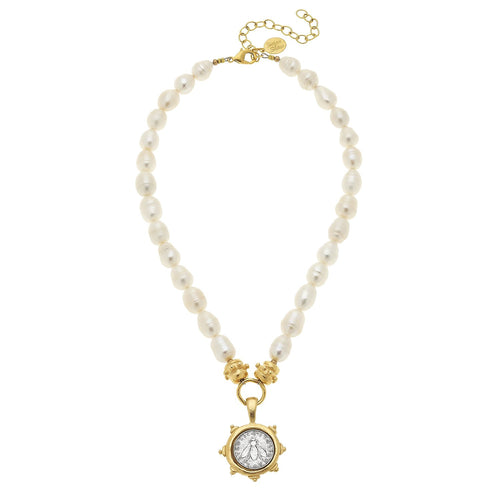 Bee Coin Pearl Necklace