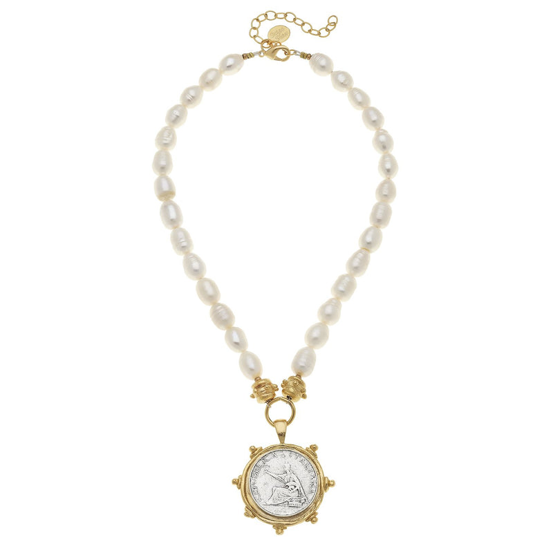 Italian Coin Pendant Pearl Necklace