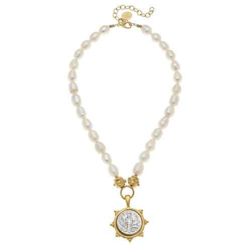 Italian Coin on Pearl Necklace