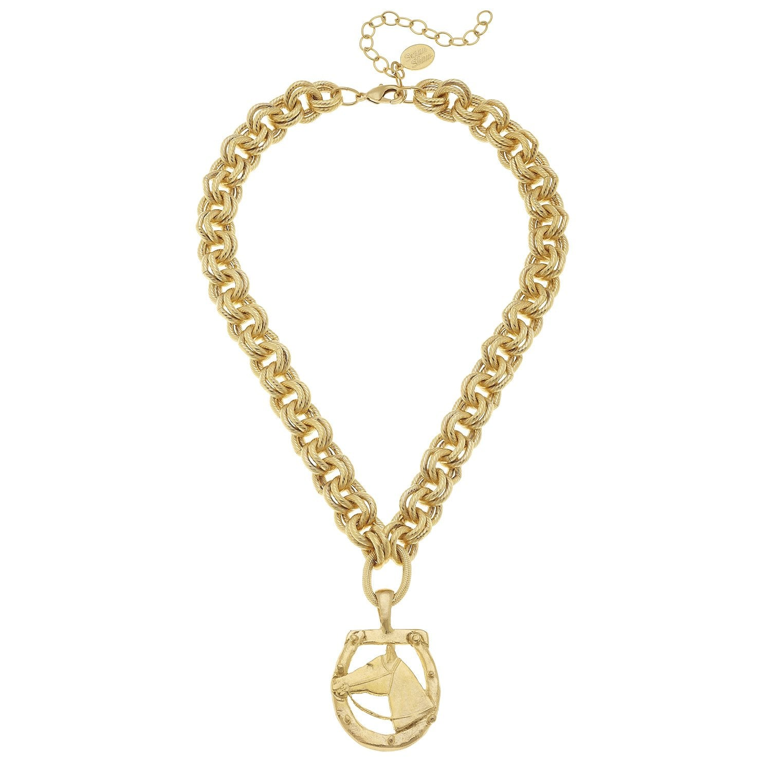 Susan Shaw Gold Horseshoe Horsehead Chain Necklace Susan Shaw Jewelry