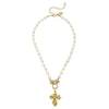 Vintage Gold Cross Pearl Necklace
