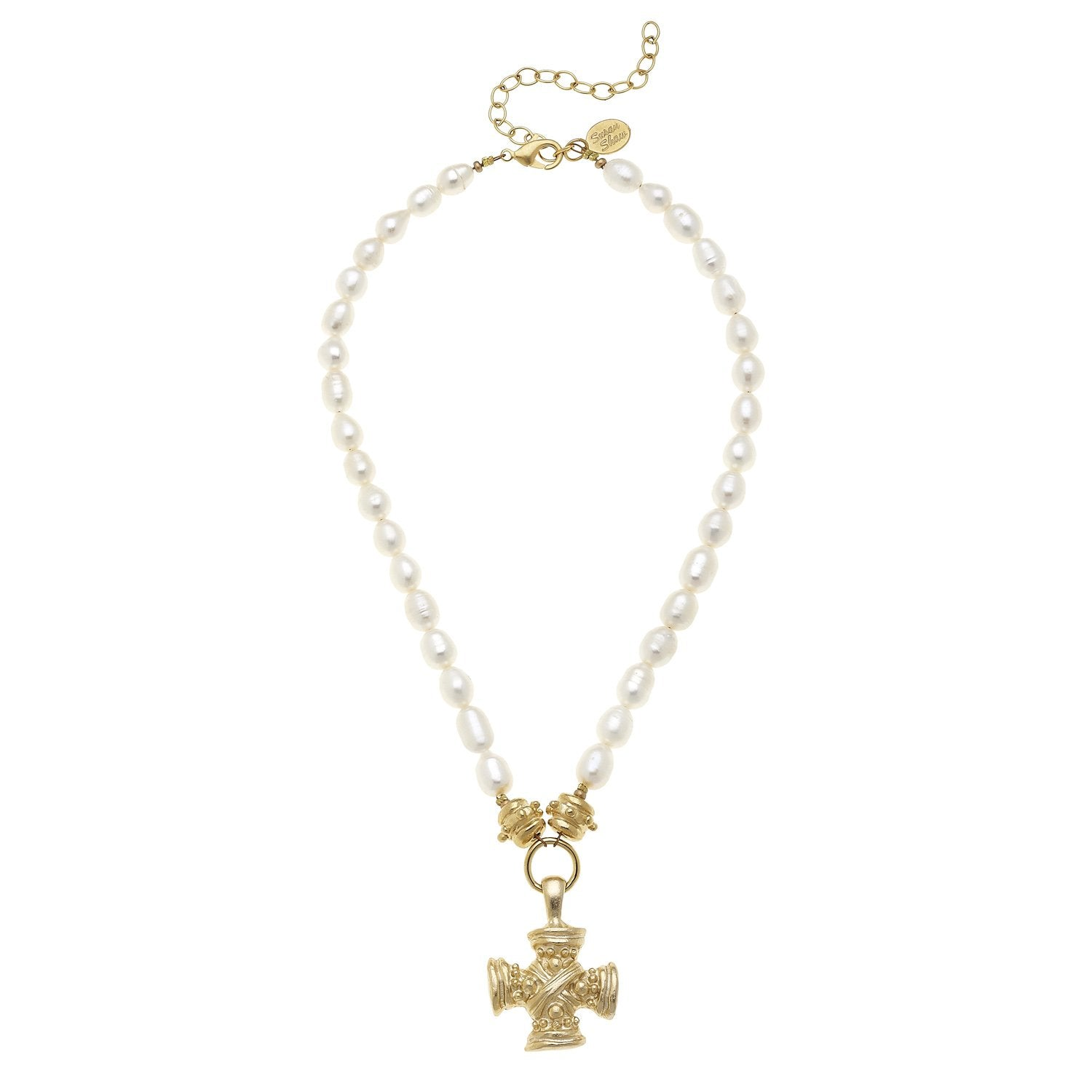 Squared French Cross Pearl Necklace