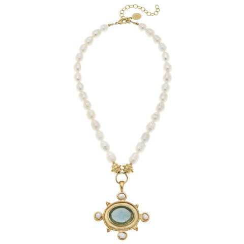 Venetian Glass Cross Intaglio Pearl Necklace