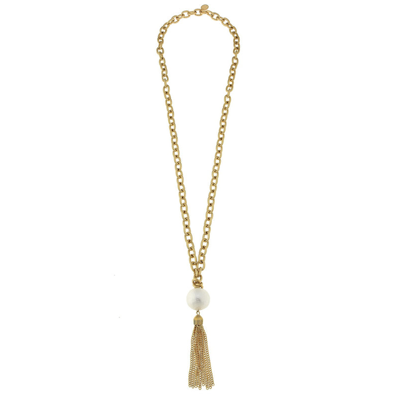 Yellow Gold Silver Plated Tassel Necklace with Mother Pearls