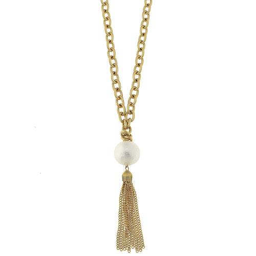 Cotton Pearl Tassel Necklace