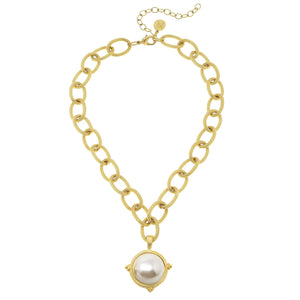 Cotton Pearl Cab Chain Necklace