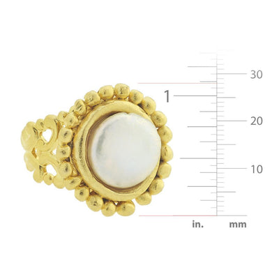 Dotted Coin Pearl Ring