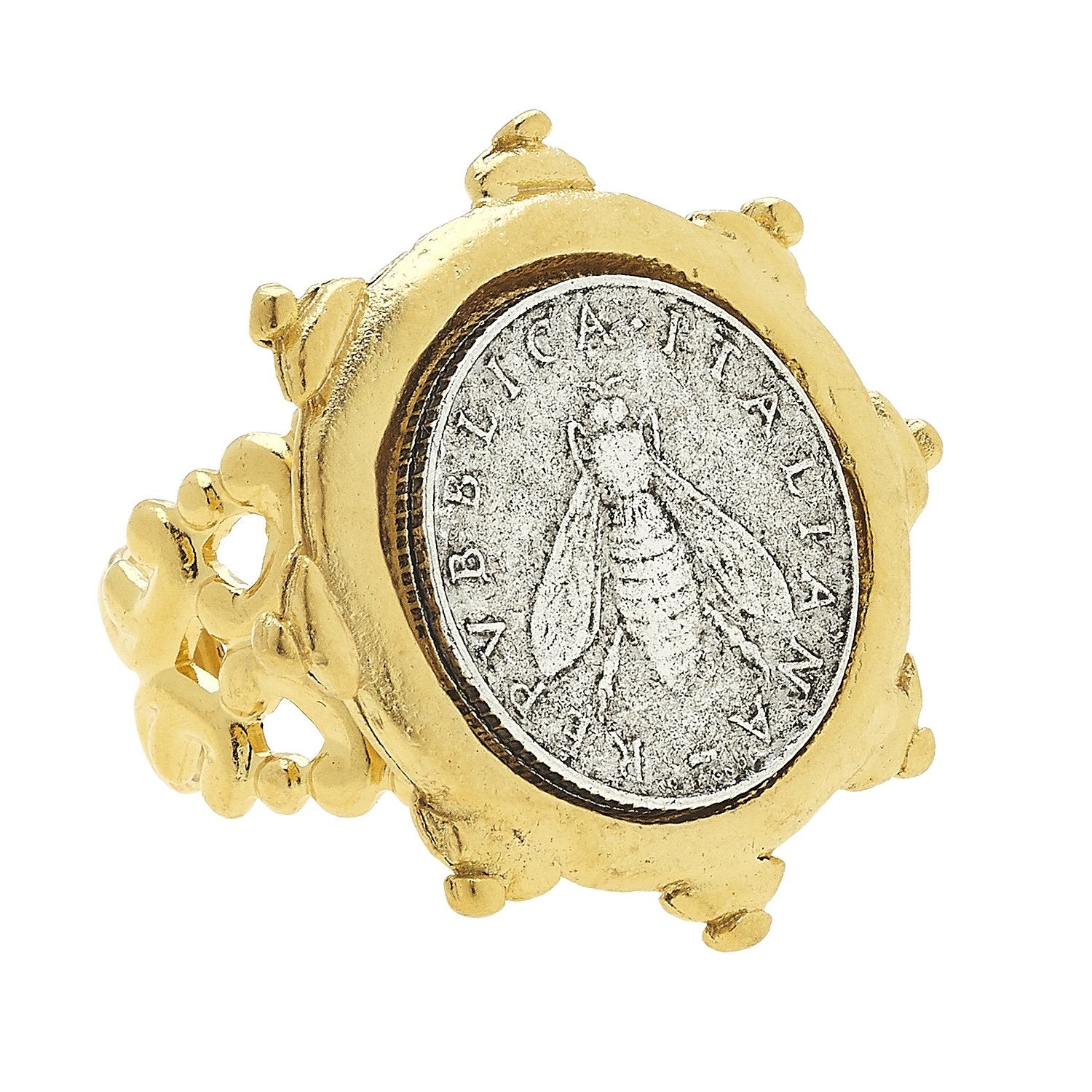 Italian Bee Coin Ring
