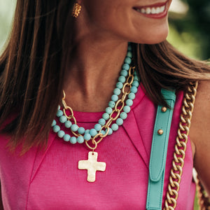 Matte Turquoise Multi-Strand Cross Necklace