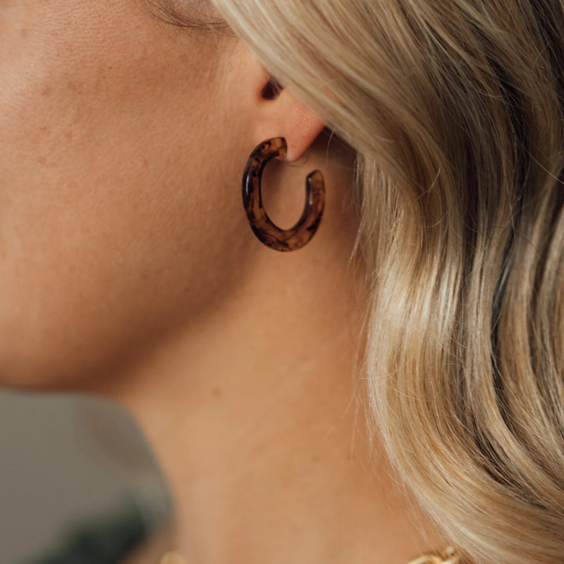 Tortoise Flat Hoop Earrings