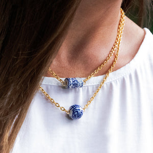Blue & White Allie Bead Necklace