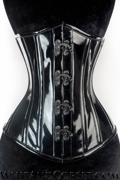 BLACK PVC POINTED CLASP CORSET