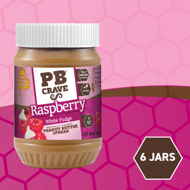PB Crave Jars - 6 Pack Raspberry White Fudge & Dark Chocolate