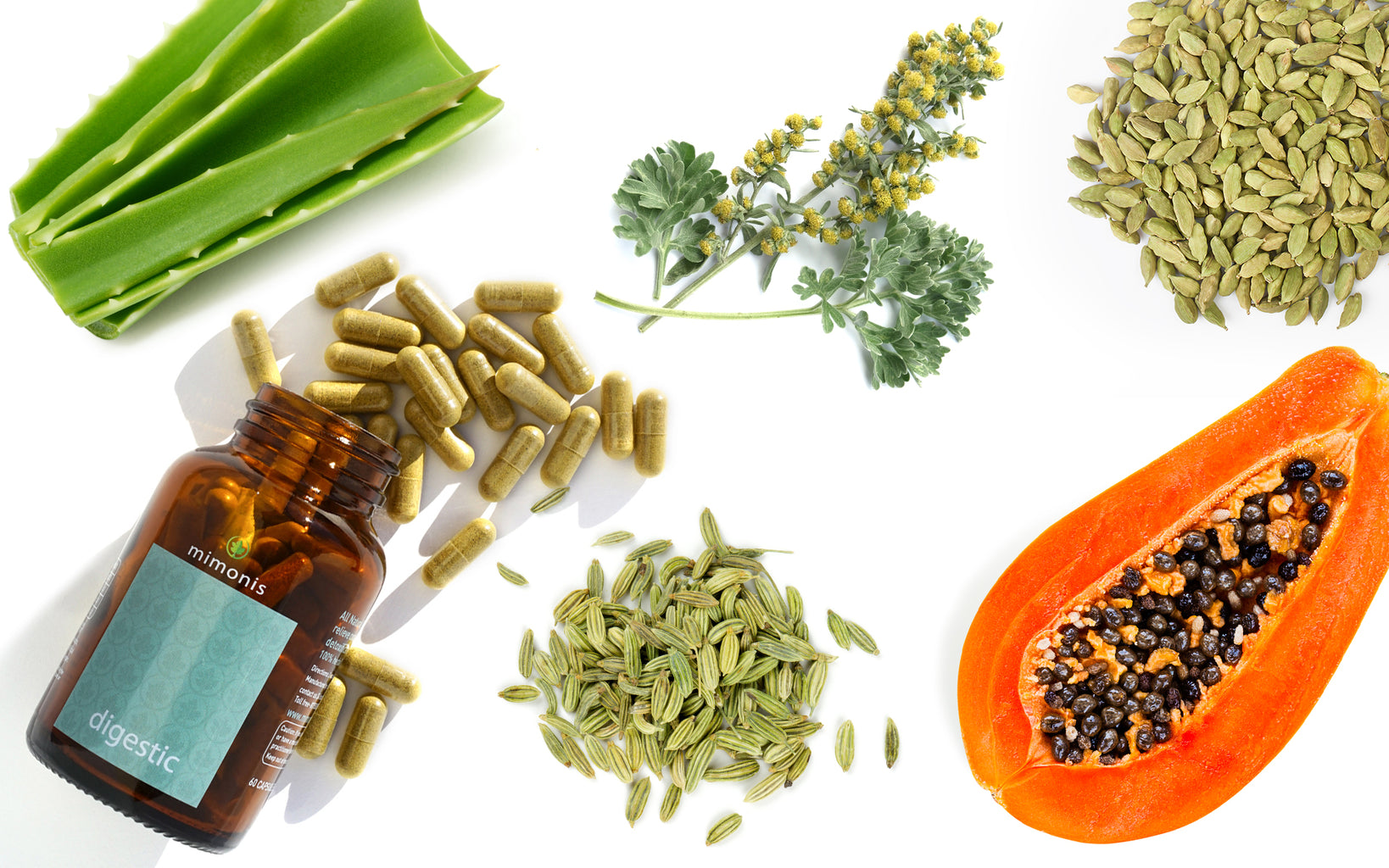 Papaya, Aloe, Fennel, Cardamom, ingredients of the digestive supplement and constipation relief Digestic