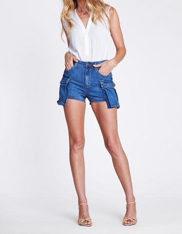 Carry on Ful Coverage Denim Shorts with Cargo Pockets