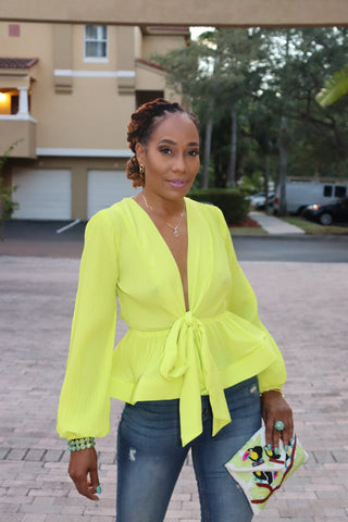 Pleated Lights Neon Yellow Blouse