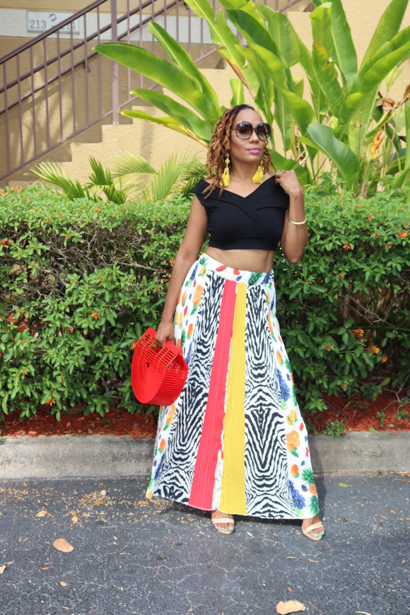 Fruitful Patterns Pleated Skirt