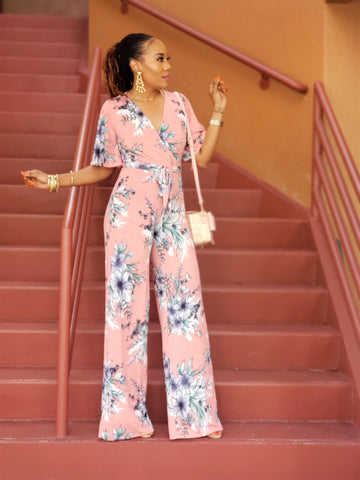 Spring Forward Floral Jumpsuit (Pink)