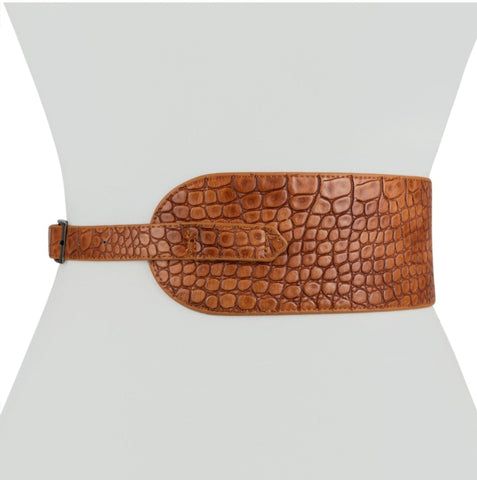 Alligator Wide Belt | Brown