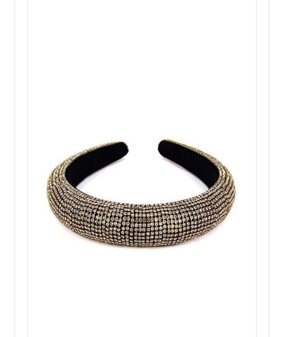 Rhinestone Padded Headband | Gold