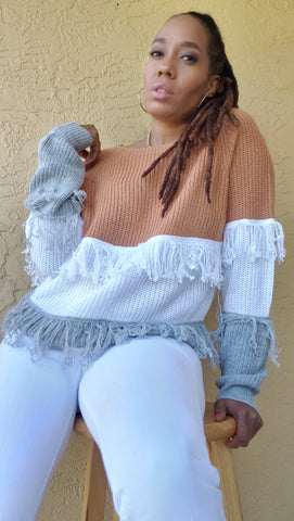 Colorblock on Tassels Sweater