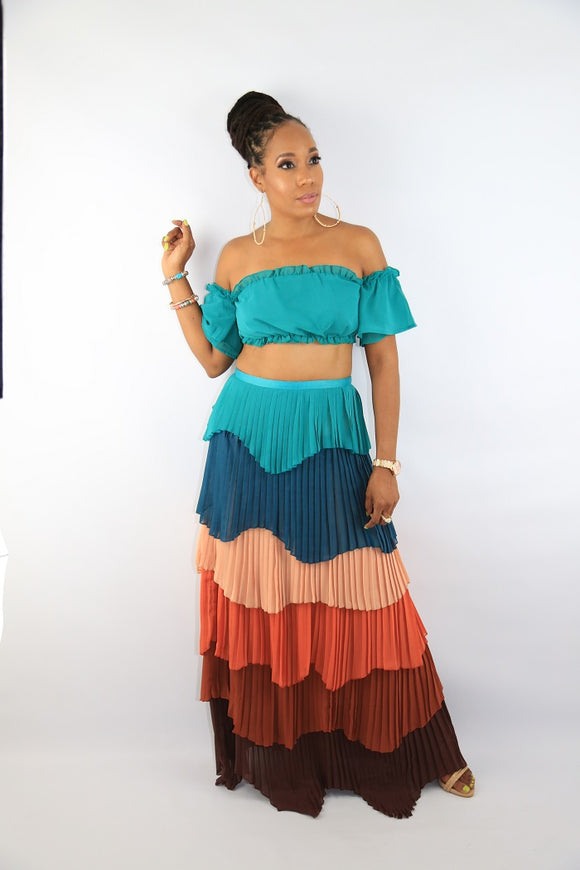 Maribel Pleated Teal Two-Piece Skirt Set