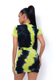 Scrunch & Tie Dye It Skirt Set Neon Yellow