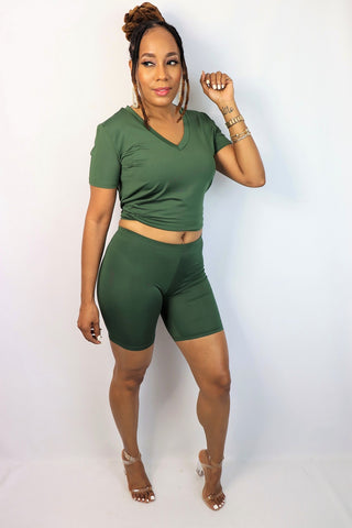 Let's Ride Biker Short Set | Olive Green