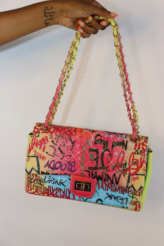 Graffiti Print Shoulder Bag | Pink