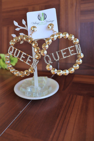 Queen Bling Bamboo Earrings (Gold Stones)