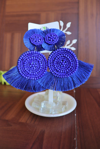 Azul Fringe Earrings (Royal Blue)
