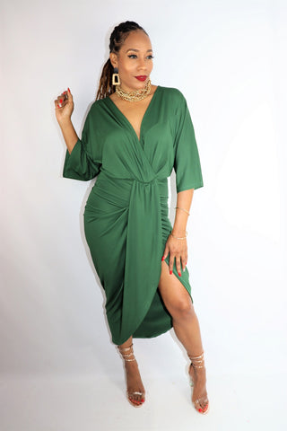 Emerald Ruched Body Con Dress