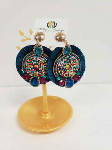 Turquoise Frisbee Fringe Earrings
