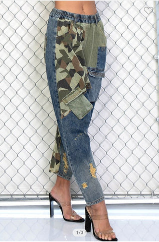 Colorblock Denim & Camo Jeans