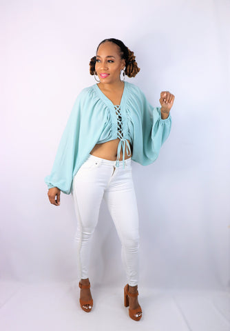 Strings Attached Crop Top (Mint)