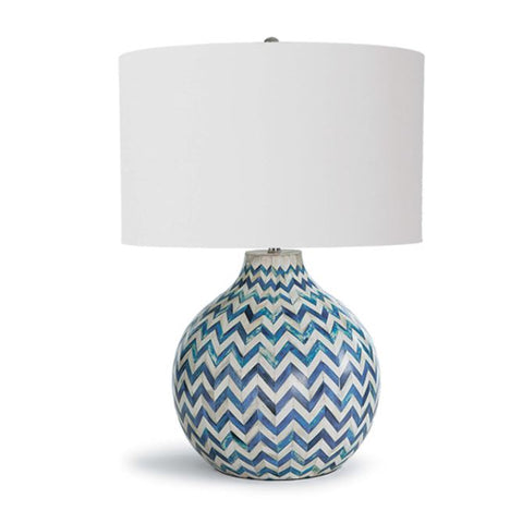 Chevron Bone Table Lamp in Indigo