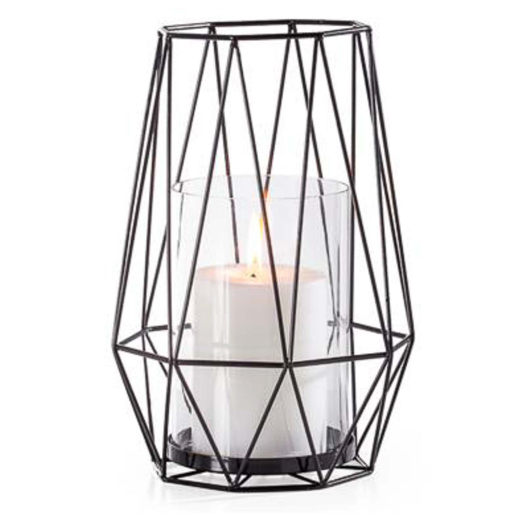 Diamond Deco Metal Hurricane Candle Holder in Black