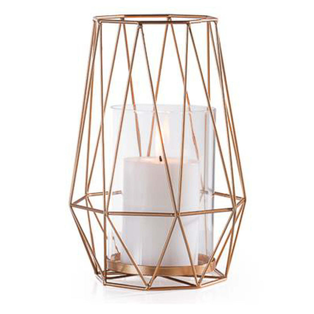 Diamond Deco Metal Hurricane Candle Holder in Gold