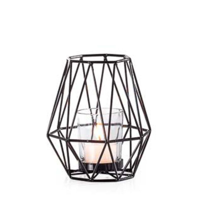 Diamond Deco Metal Tealight Holder in Black