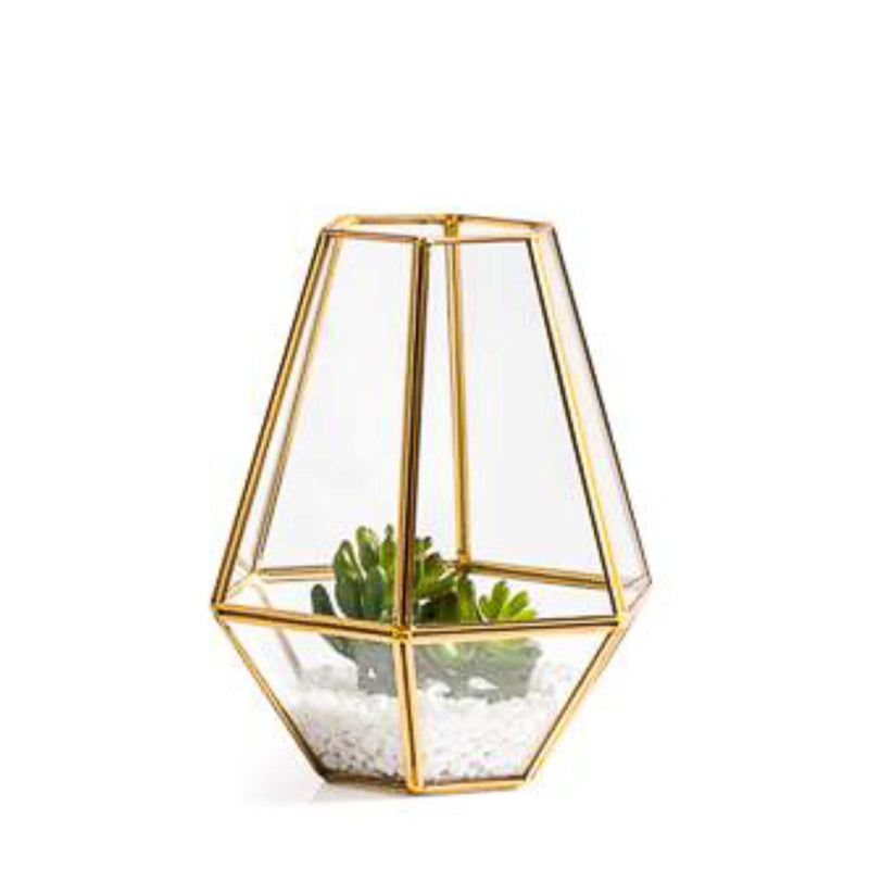 Oro Hexagon Glass Hurricane - Short