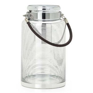 "Silver Ring Glass 12""h Lantern with Faux Leather Handle"