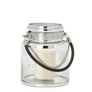 "Silver Ring Glass 8""h Lantern with Faux Leather Handle"