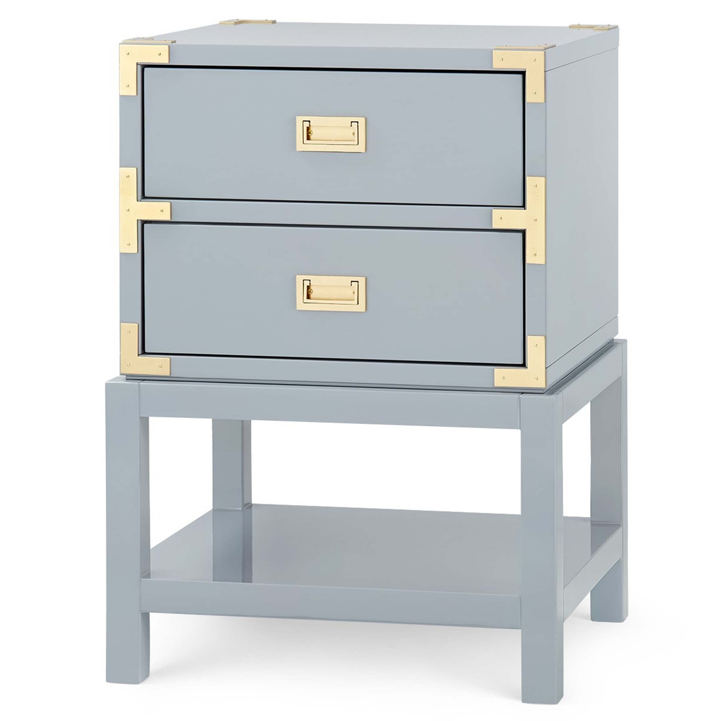 Tansu 2-Drawer Side Table in Gray