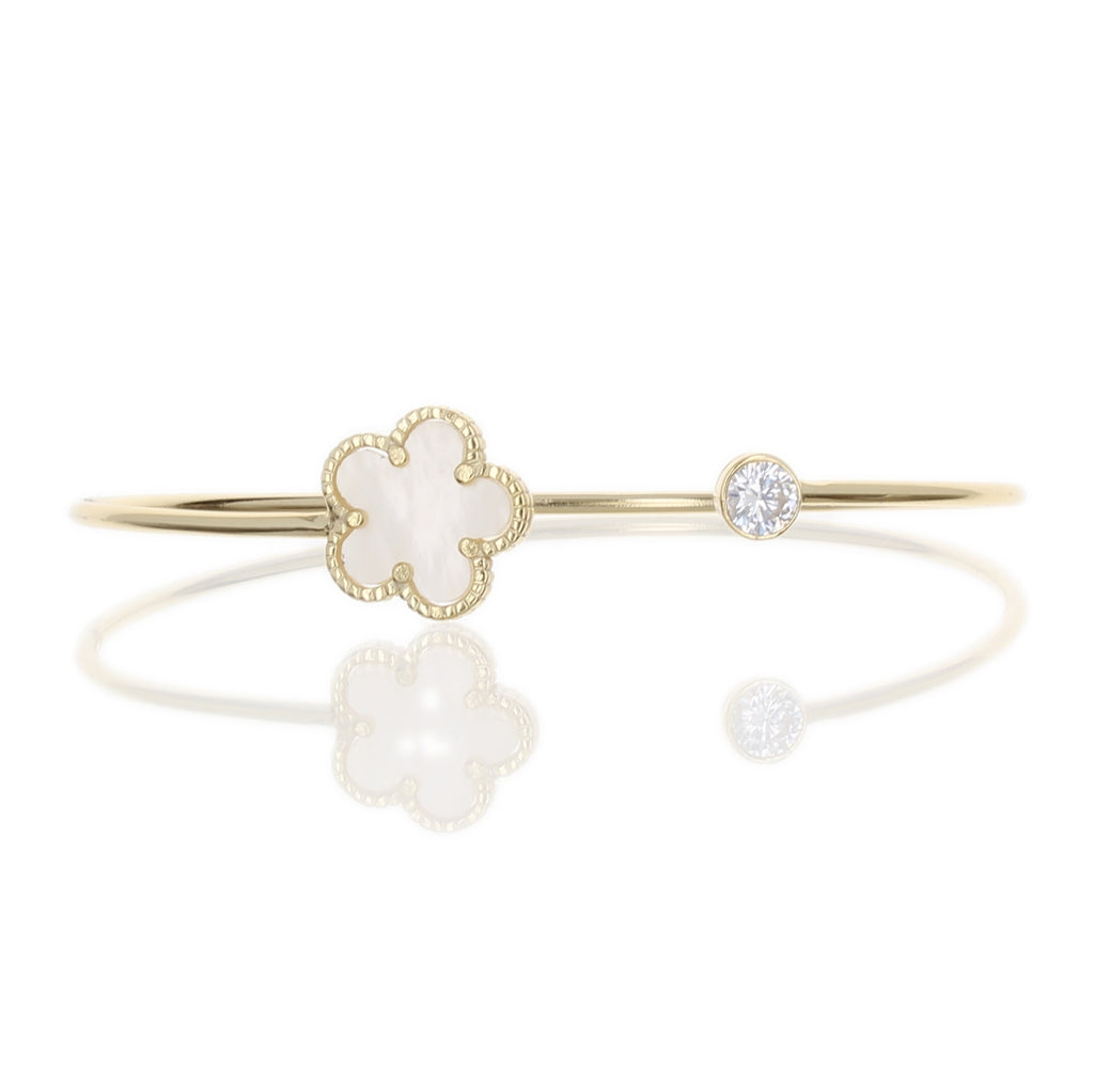 MOTHER OF PEARL FLOWER & CZ BANGLE