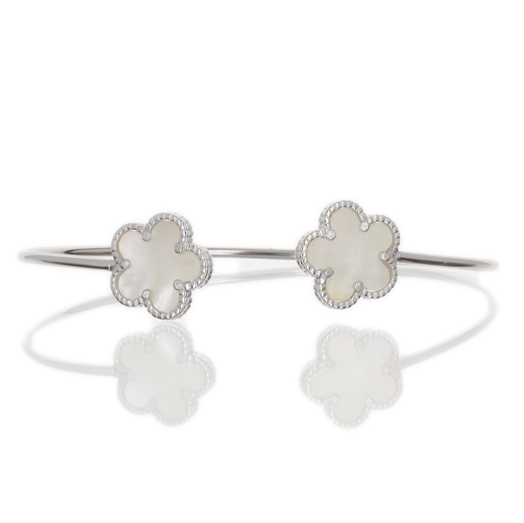 MOTHER OF PEARL DOUBLE FLOWER BANGLE