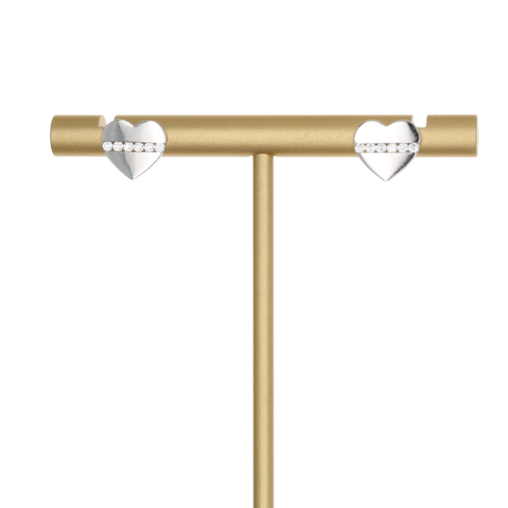 POLISH HEART WITH CZ LINE STUD EARRING