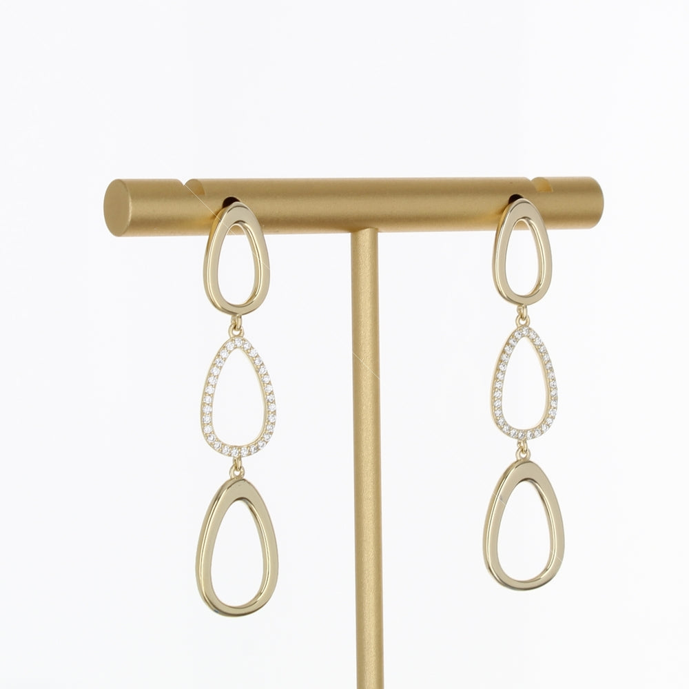 PAVE & POLISH OVAL LINK EARRING