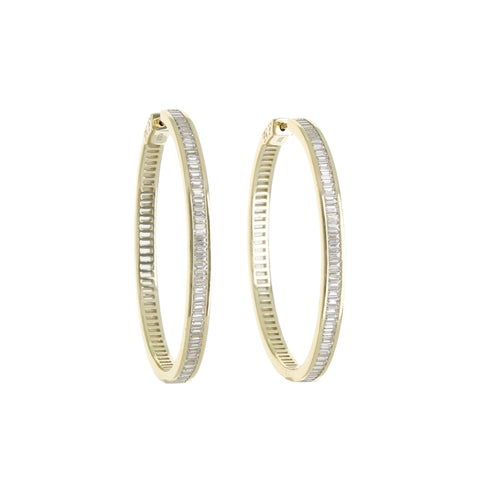CHANNEL-SET BAGUETTE HOOP EARRING