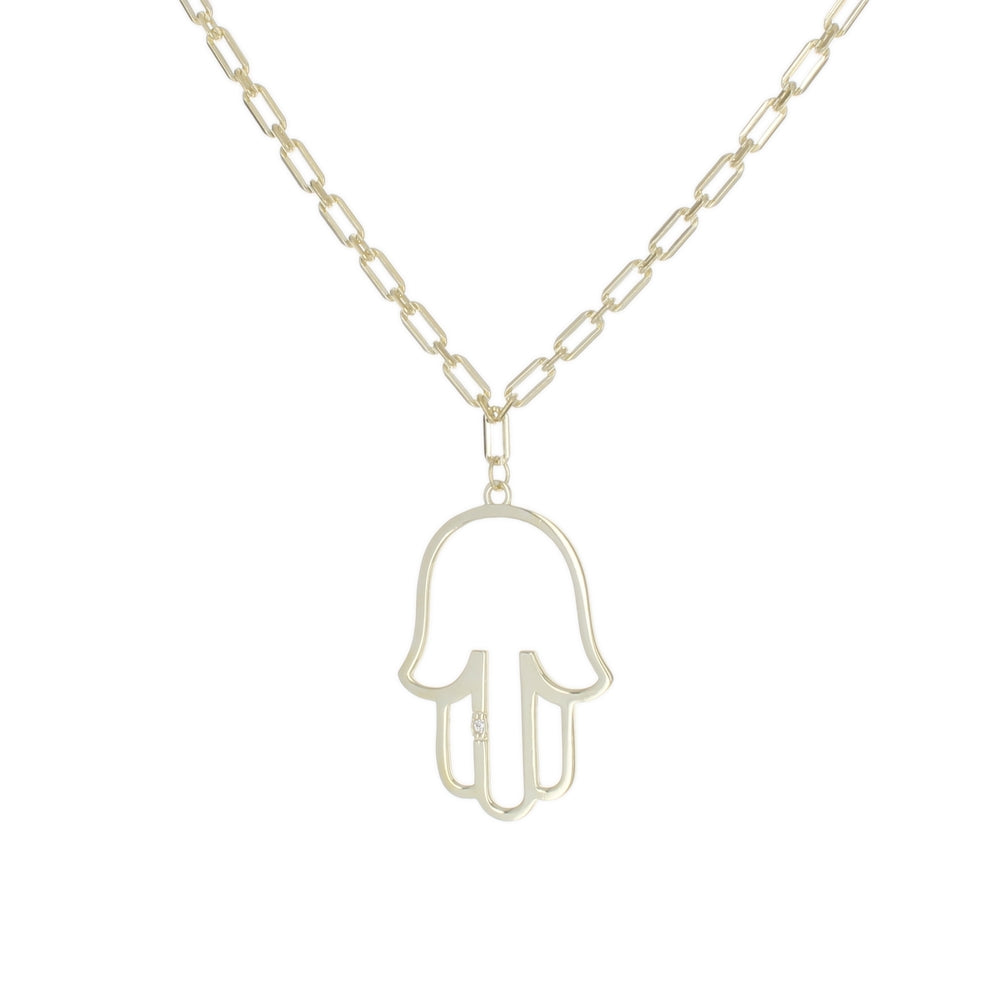 OPEN HAMSA PENDANT ON TINY LINK CHAIN