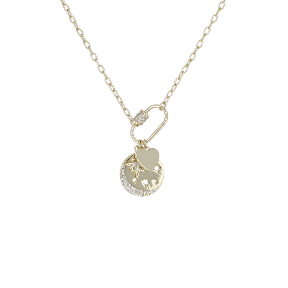 OVAL LOCK MOON STAR HEART CHARM NECKLACE